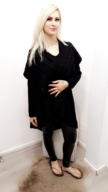 Ready For Fall Poncho Black