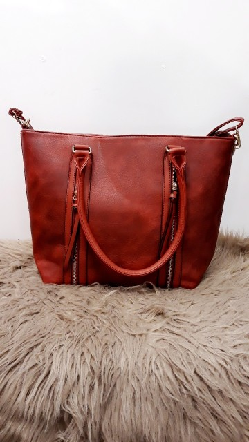 Red Dubble Zipper Handbag