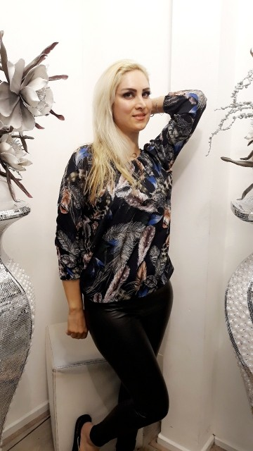 Feather top -Donkerblauw