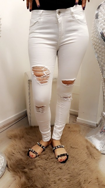 Ripped white jeans
