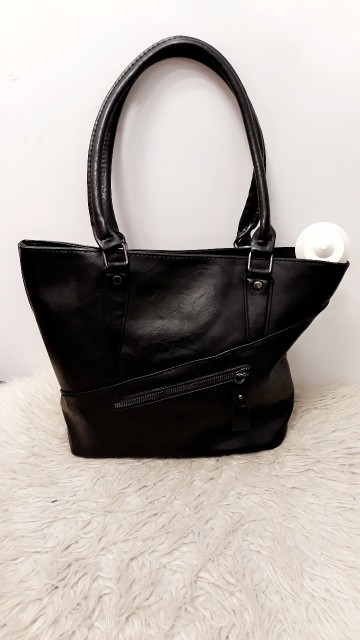 Black Angled Zip Bag