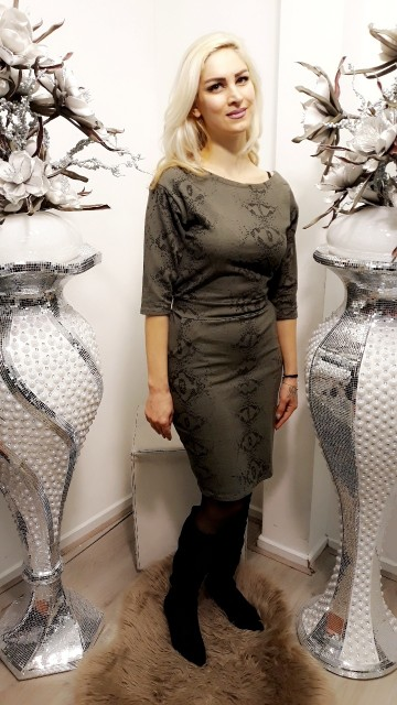 Khaki snakeprint dress