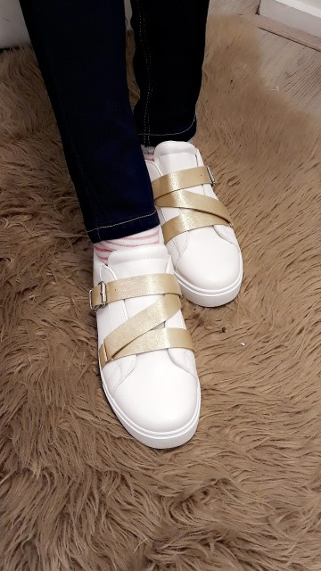 White/gold sneakers