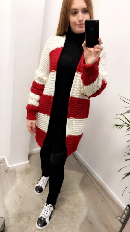 Knitted Red/White Striped Vest
