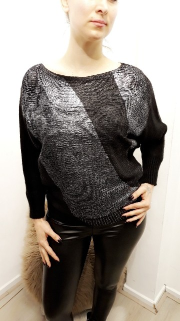 Black And Zilver Sweater