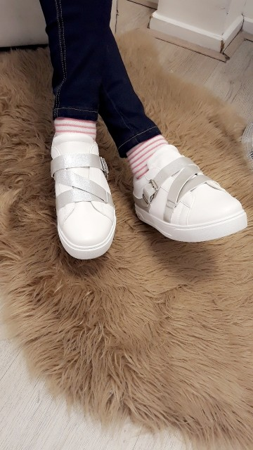 White/silver sneakers