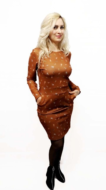 Animal Pattern Brown Dress