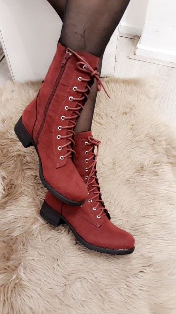 Red High Ankle Boots