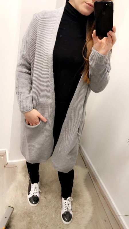 Long Knitted Grey Vest