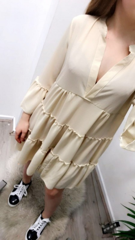 Wide Flowy Beige/Creme Dress