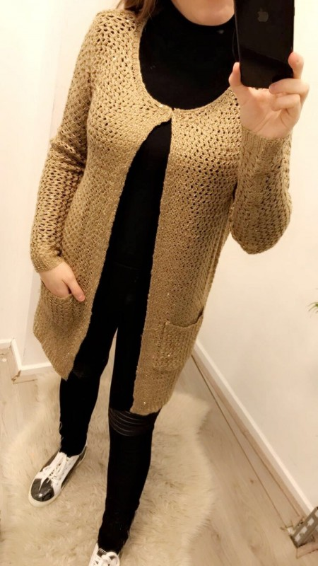 Knitted Sparkle Gold/Brown Long Vest