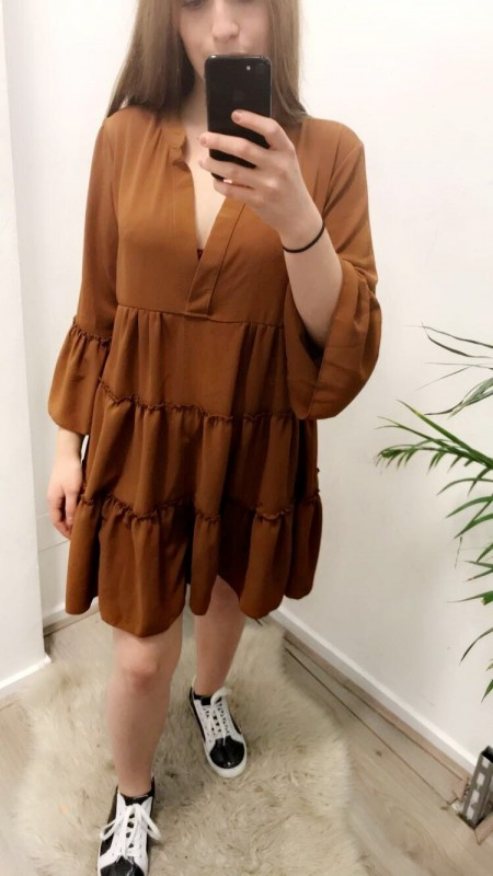Flowy Wide Brown/Orange Dress