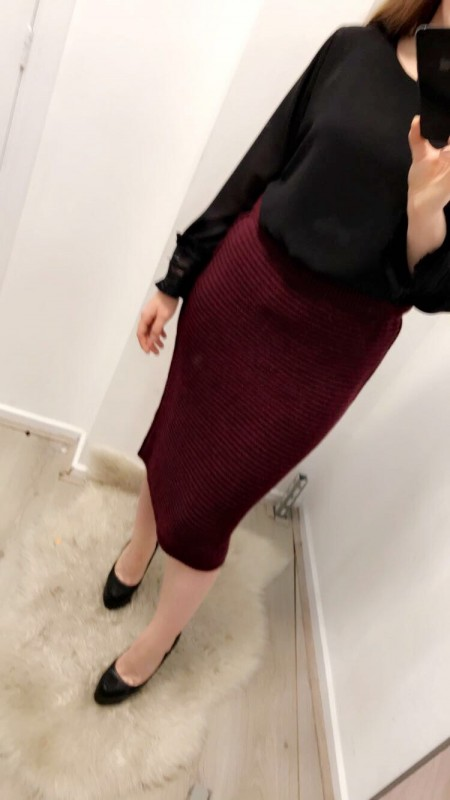 WineRed Knitted Pencil Skirt