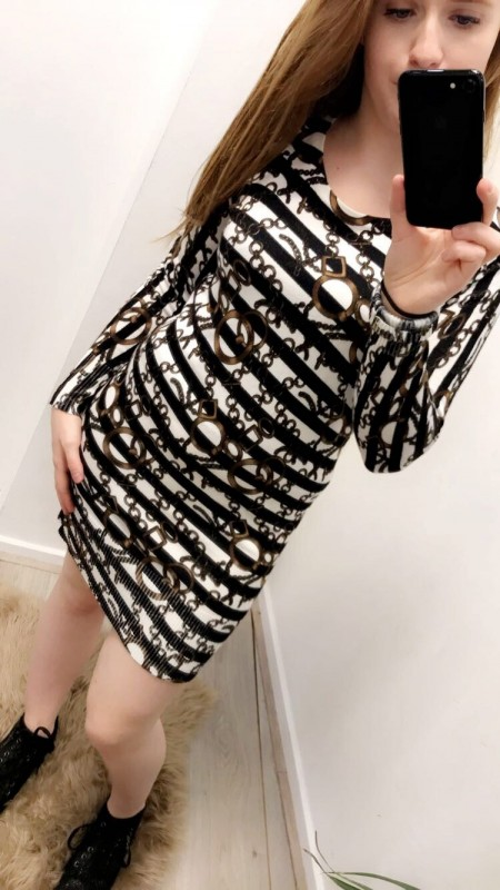 Stretchy Pattered Black/White Striped Dress