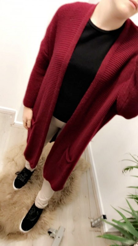 Long Knitted Red Vest