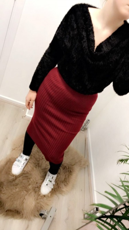 Red Wool Pencil Skirt
