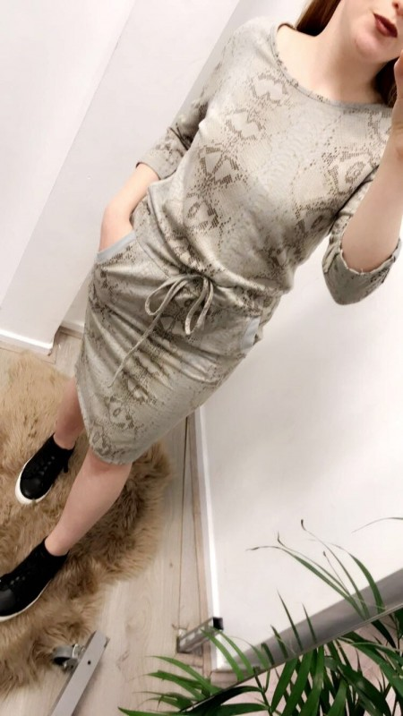Snake Skinned Pattered Dress in Light Beige