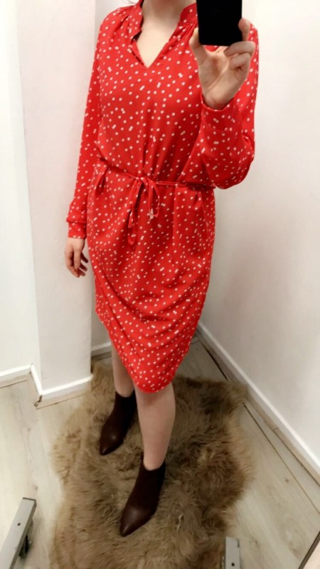 Red dress with pois
