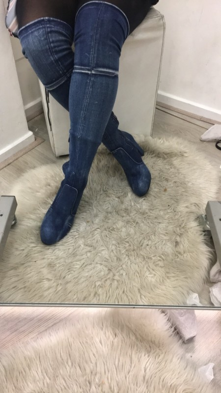 Demin Over The Knee Heel Boots