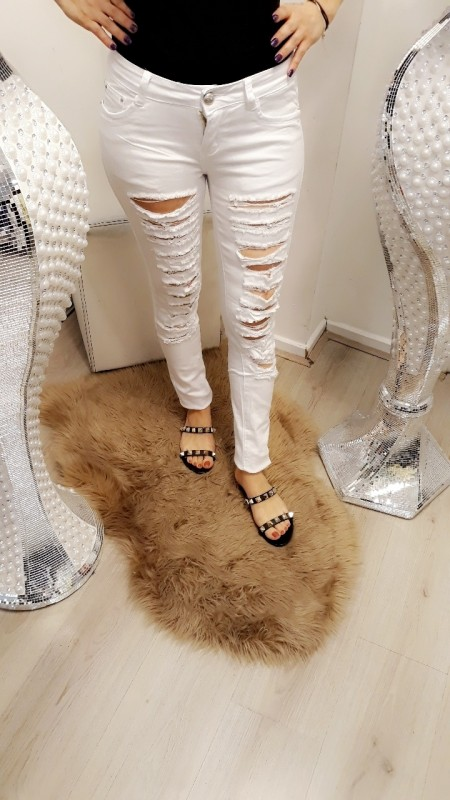 Total ripped jeans -white