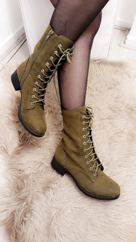 Green High Ankle Boots