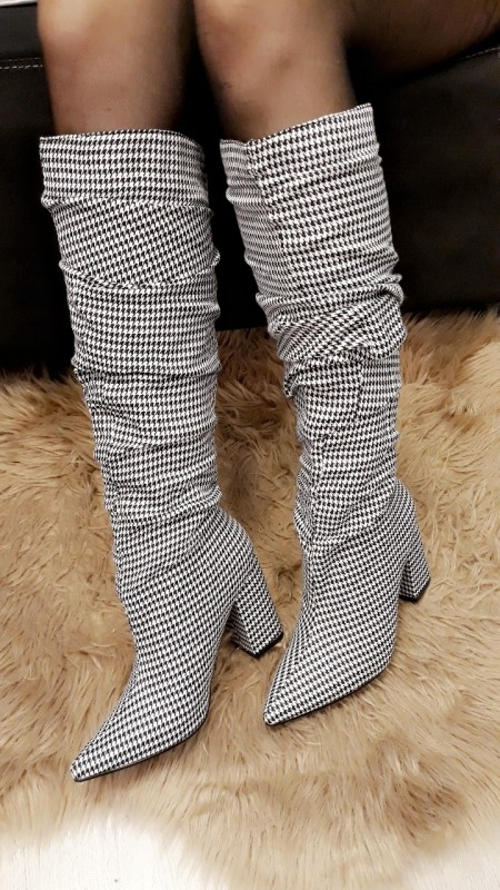 High Sleek Houndstooth Boots