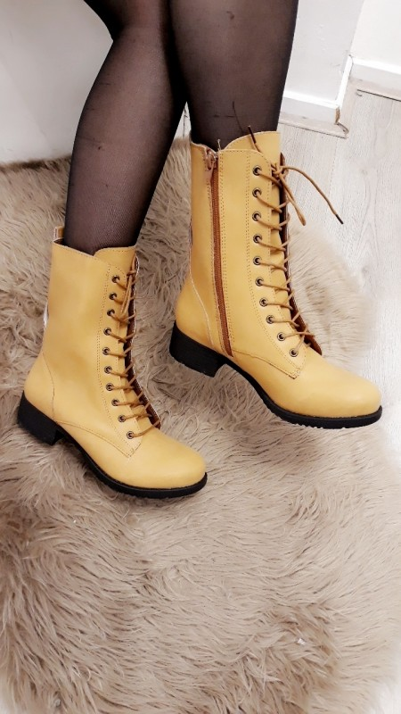 Yellow High Ankle Boots