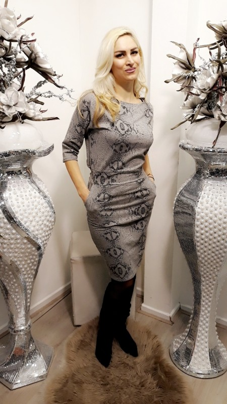 Grey snakeprint dress