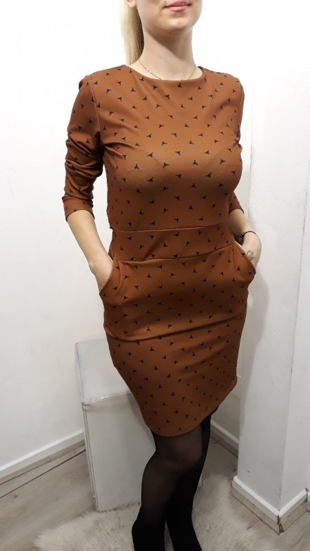 Brown Dotted Dress