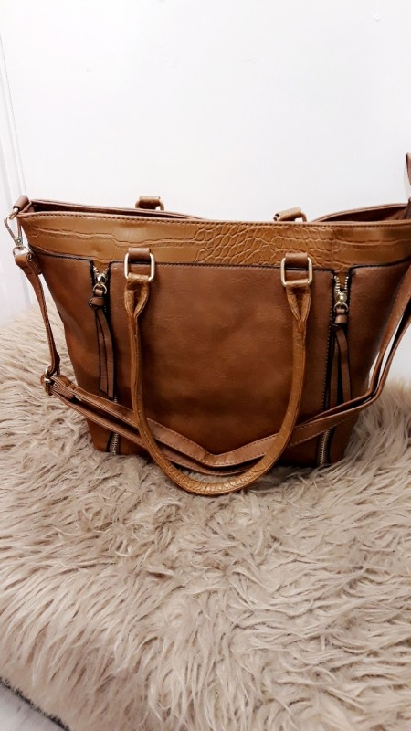 Brown Dubble Zipper Handbag