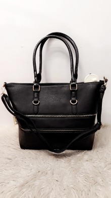 Black Dubble Zipper Handbag
