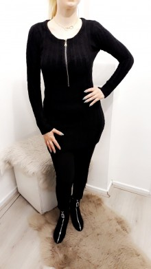 Knitted Zipped Sweater Black