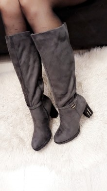 Grey High Bling Boots