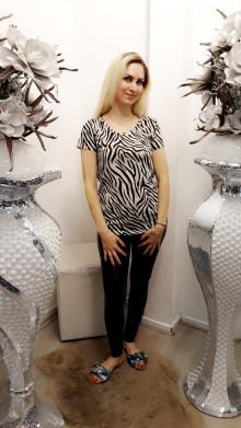 Zebraprint top Black/beige