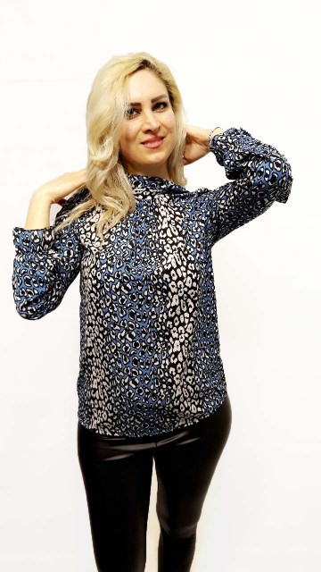 Blue Leopard Blouse