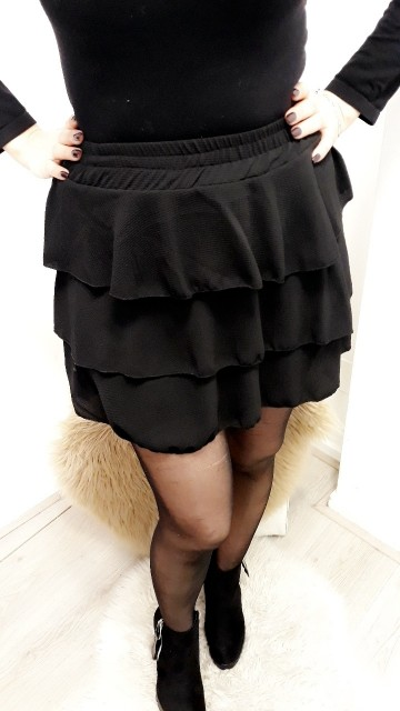 Black Ruffled Mini Skirt