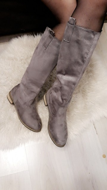 Grey And Gold Boots