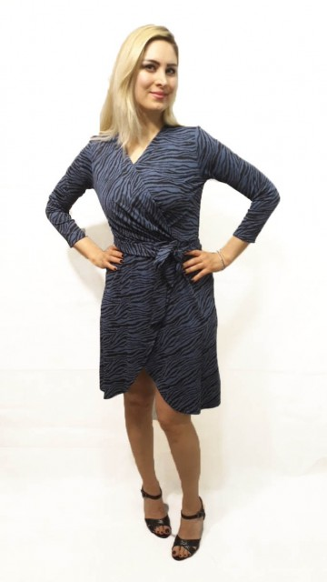 Zebra Wrap Dress Blue