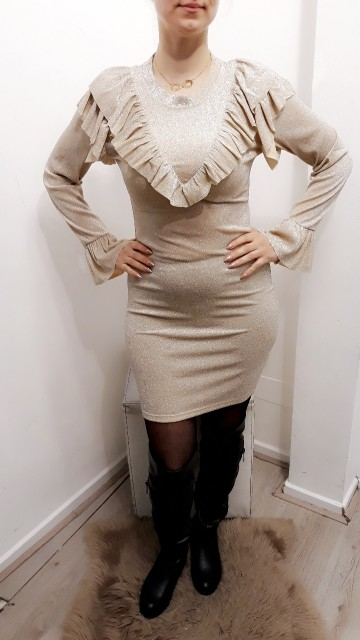 Ruffle Tight Dress Beige