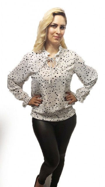 White Blouse With Dots