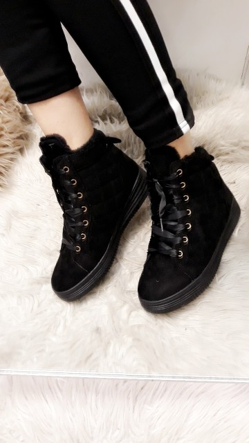 Black fluffy shoes