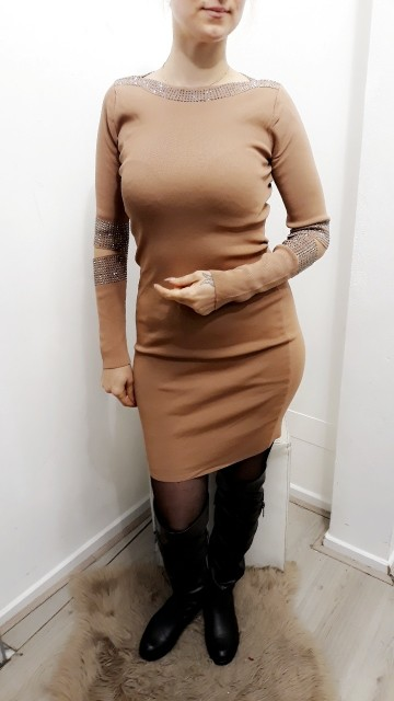 Cut Cocktail Dress Beige