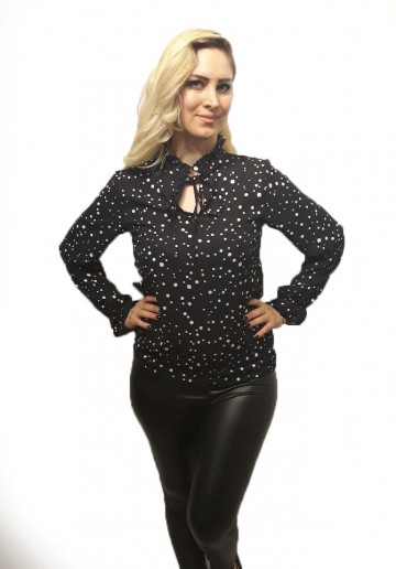 Black Blouse With Dots