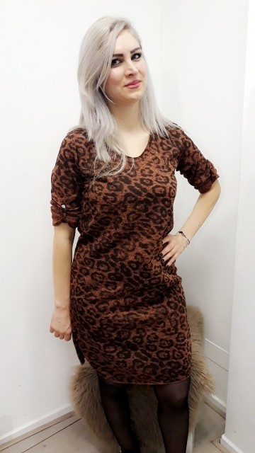 Brown Loose Leopard Dress