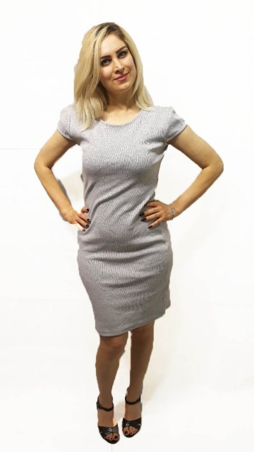 Basic Short Sleeve Dress Grey