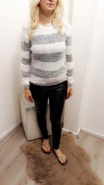Striped Fluf Sweater Black