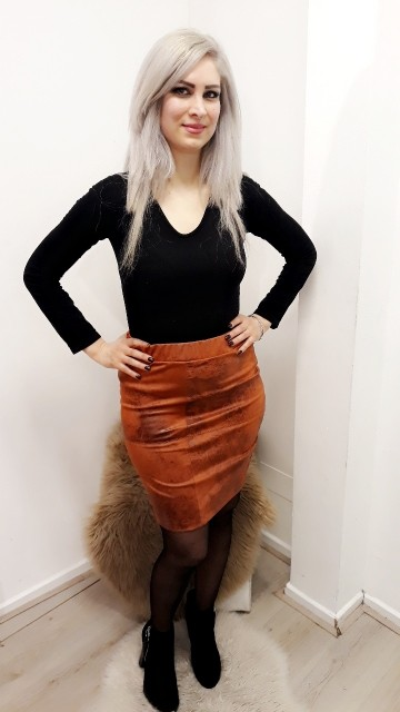Koper Textured Leather Skirt