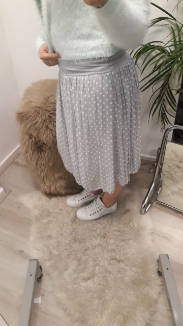 Grey Pocker-Dot Skirt