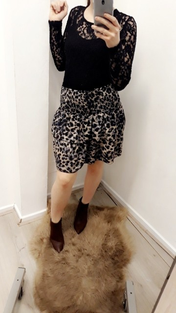 Leopardprinted grey&black skirt
