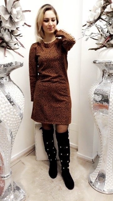 Leapard Print Brown Dress